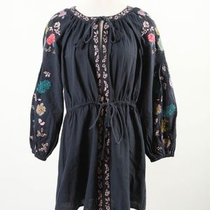 ZARA Trafaluc – Embroidered Boho Blouse Top